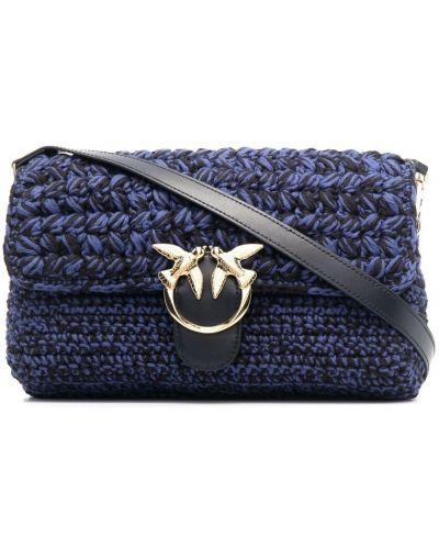 Синяя кожаная сумка на плечо на молнии Pinko