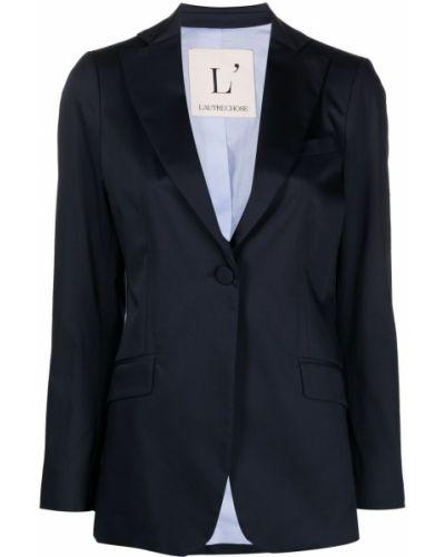 Однобортный синий удлиненный пиджак с карманами L'autre Chose