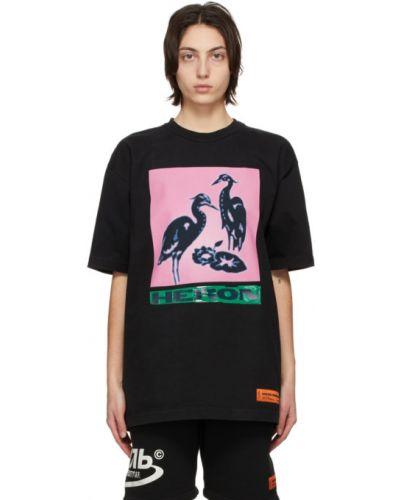 Bawełna z rękawami czarny t-shirt Heron Preston