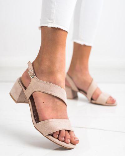 Sandały na niskim słupku - beżowe Kylie