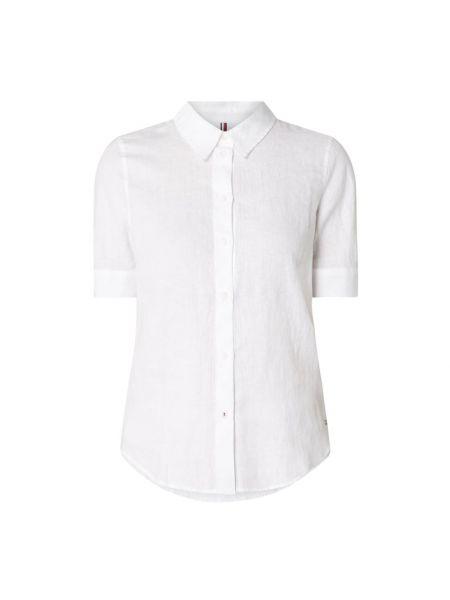Z rękawami biały światło bluzka z krótkim rękawem z kołnierzem Tommy Hilfiger