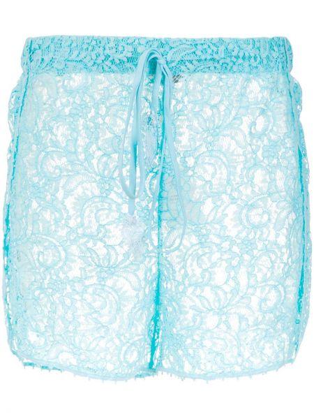 Синие ажурные шорты из вискозы на шнурках Martha Medeiros