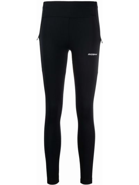 Czarne legginsy z wysokim stanem z printem Misbhv