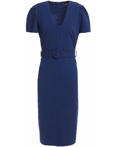 Плиссированное синее платье с поясом Badgley Mischka