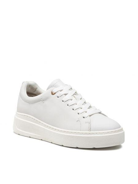 Buty sportowe skorzane - białe Tamaris