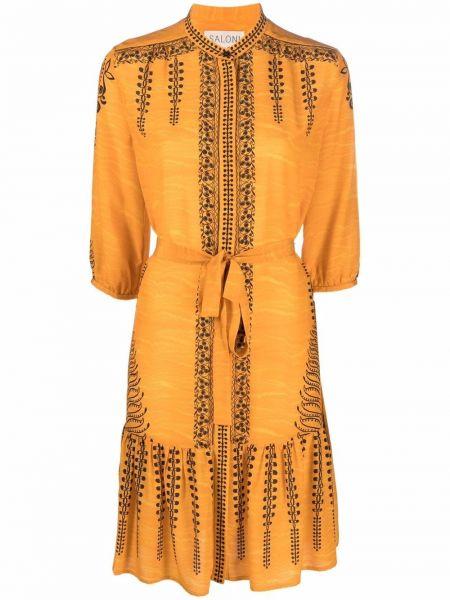 Желтое платье с воротником Saloni