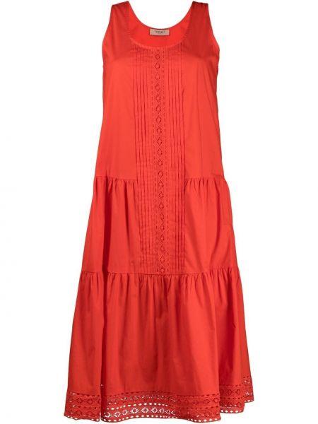 Красное кружевное платье без рукавов Twin-set