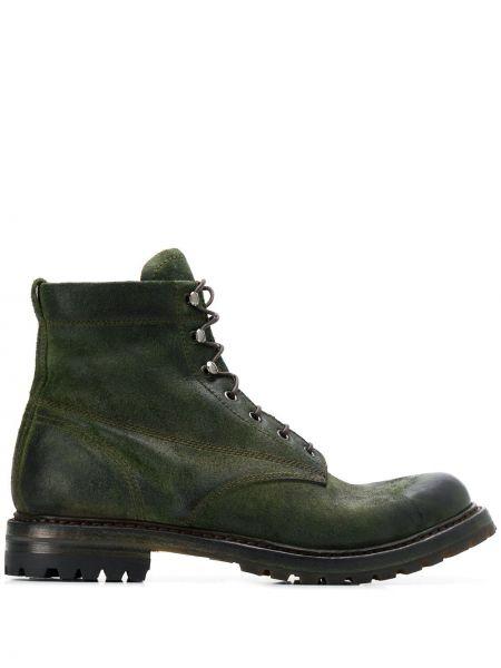 Массивные кожаные кожаные ботинки на шнуровке на каблуке Silvano Sassetti