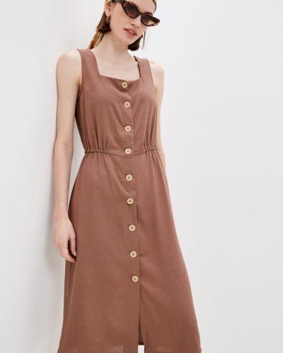 Коричневое прямое платье Zarina