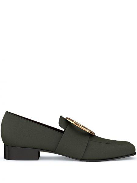 Czarne loafers skorzane z haftem Dorateymur