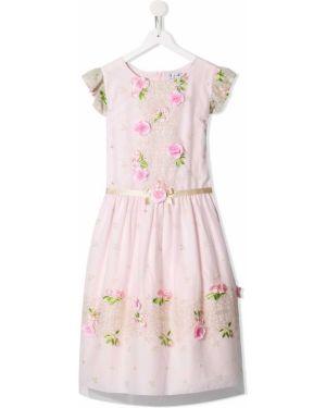 Ажурное розовое платье с вырезом круглое Lesy