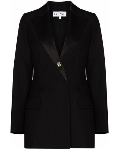 С рукавами шерстяной черный пиджак с лацканами Loewe