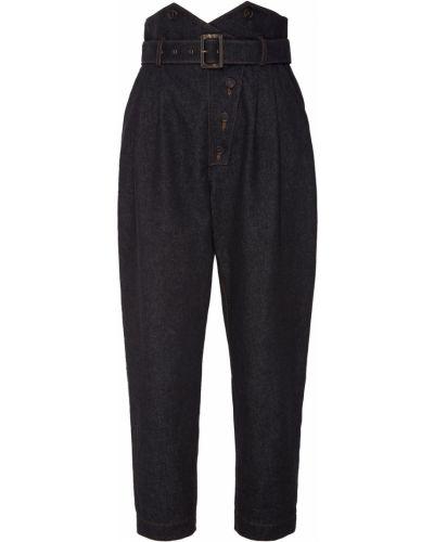 Хлопковые черные брюки с поясом Alena Akhmadullina