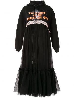 С рукавами черное платье миди из фатина с капюшоном Viktor & Rolf