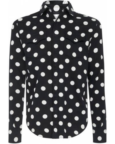 Czarna koszula elegancka bawełniana Saint Laurent