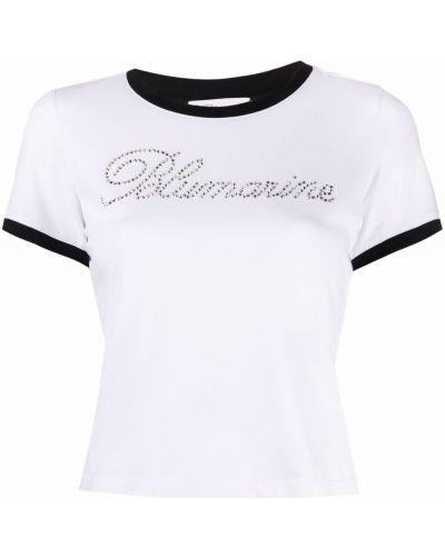Прямая белая футболка с вырезом Blumarine