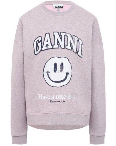 Розовый хлопковый свитшот Ganni