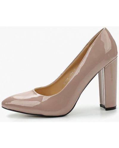 Туфли на каблуке кожаные бежевый Fersini