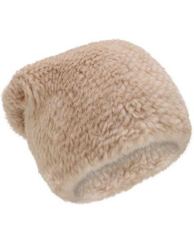 Бежевая шапка норковая Kussenkovv