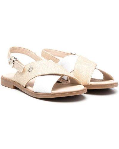 Białe złote sandały z klamrą Florens