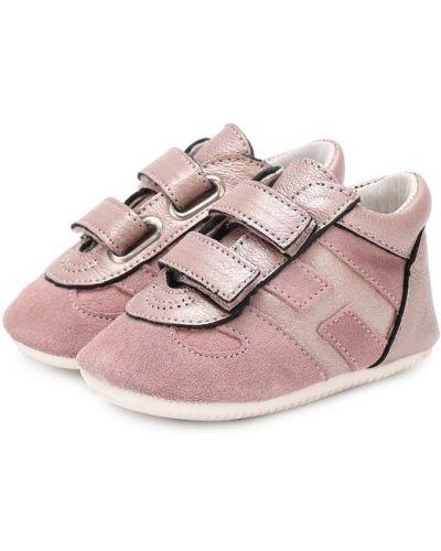 Розовые пинетки кожаные Hogan