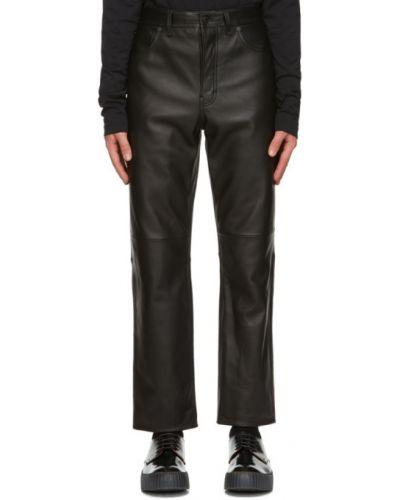 Prosto skórzany czarny spodnie o prostym kroju z paskiem Acne Studios