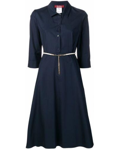 Платье мини с воротником - синее Max Mara Studio