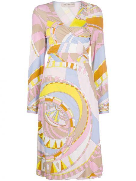 Платье миди с запахом с V-образным вырезом Emilio Pucci