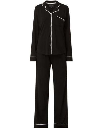 Czarna spodni piżama bawełniana z długimi rękawami Dkny