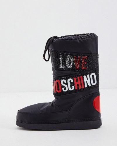 Кожаные дутики - черные Love Moschino