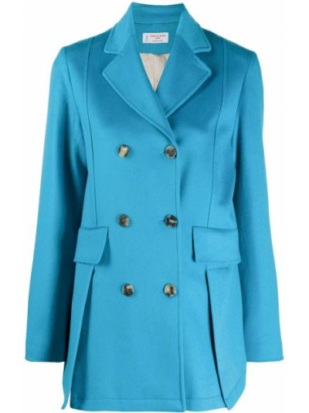 Приталенный синий удлиненный пиджак двубортный Alberto Biani