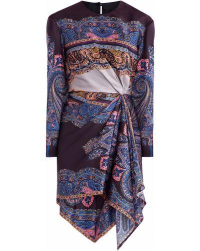 Платье мини с оборками с воротником Etro