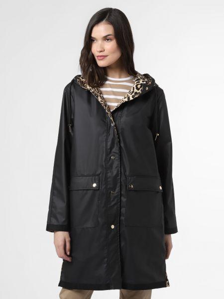 Czarny płaszcz z printem Rino & Pelle