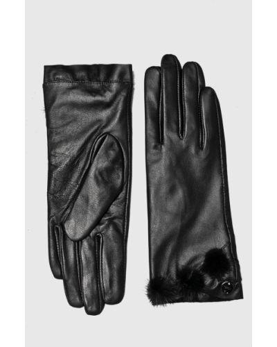 Черные кожаные перчатки Liu Jo