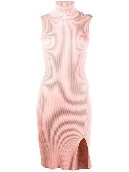 Розовое облегающее платье в рубчик без рукавов с разрезом Philipp Plein
