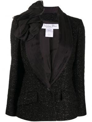 Черный пиджак винтажный букле с карманами Christian Dior