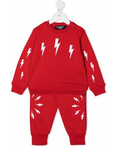 Хлопковый костюмный красный спортивный костюм на кнопках Neil Barrett Kids