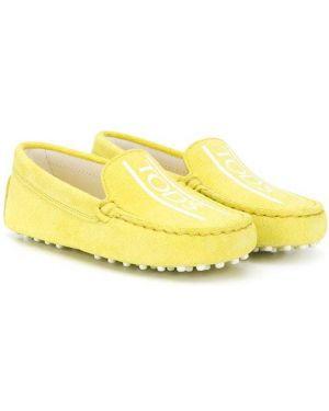 Желтые кожаные мокасины без застежки Tod's Kids