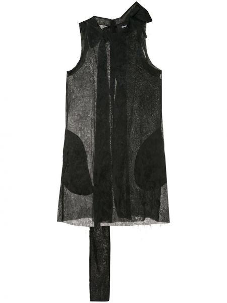 Черное платье мини на молнии без рукавов жаккардовое Yang Li