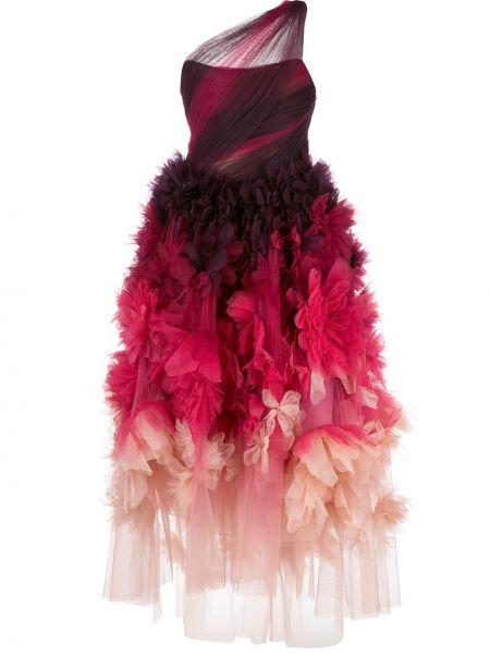 Шелковое розовое платье на одно плечо Marchesa