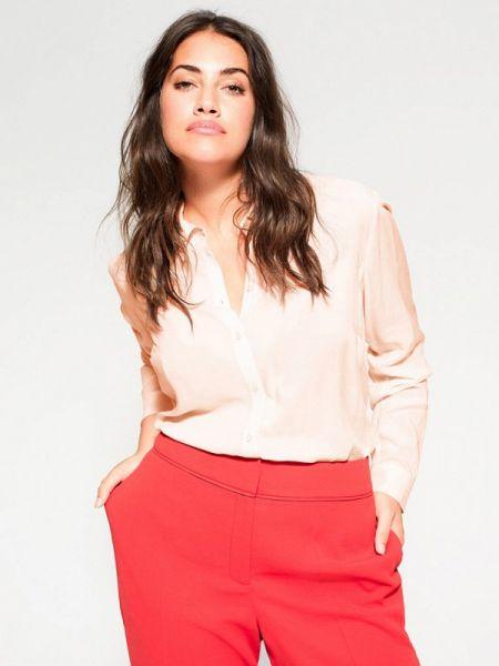 Блузка с длинным рукавом розовая весенний Violeta By Mango