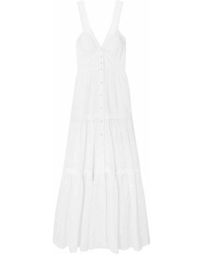 Хлопковое кружевное белое платье макси Temperley London