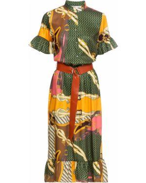 Платье с поясом с рукавами Bonprix