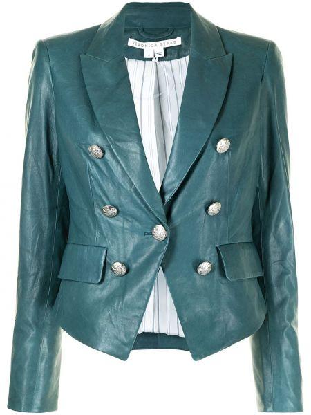 Синяя кожаная куртка милитари Veronica Beard