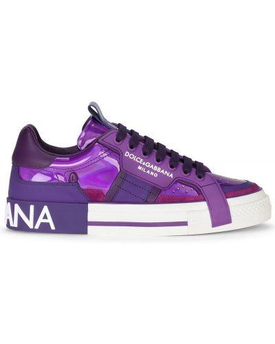 Кожаные кроссовки - фиолетовые Dolce & Gabbana