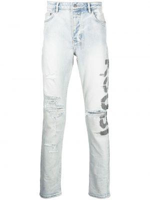 Niebieskie mom jeans z printem Ksubi