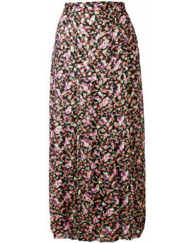 Черная расклешенная юбка миди с рисунком в рубчик Vanessa Seward