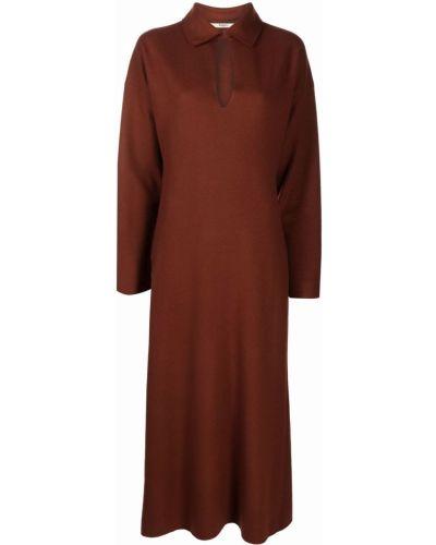 Трикотажное платье миди - коричневое Barena