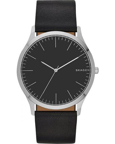 Часы водонепроницаемые с кожаным ремешком классические Skagen