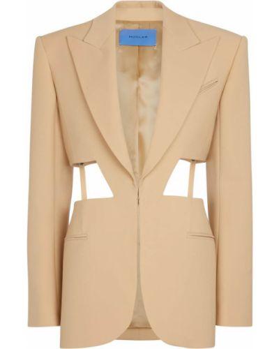 Шерстяной бежевый пиджак с вырезом Mugler